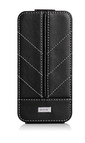 iPhone7ケース アイフォン7ケースWWW®RFIDブロッキング良質PUレザー 垂直フリップ型ケース マグネット式 スタンド機能 取り外し自由 スリムケース 軽量 カード入れ 保護カバー ブラック