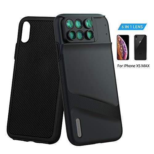 MOMAX 6in1 iPhoneXS Maxカメラレンズ 魚眼レンズ マクロレンズ 広角レンズ 望遠レンズ 多機能ケース付き iPhoneXS MAXに対応 (iPhone XS MAX ブラック)