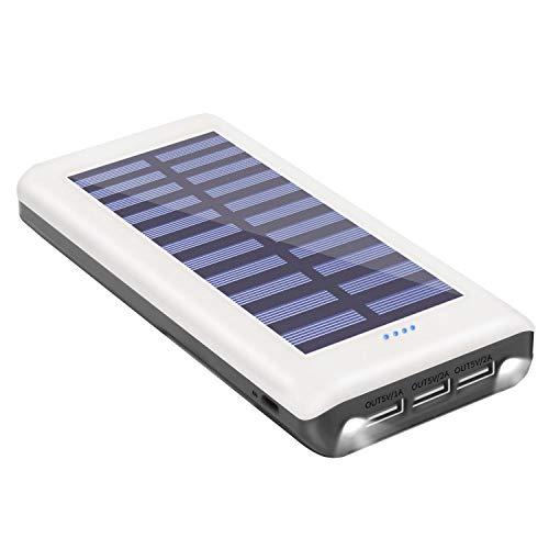 ソーラーチャージャー モバイルバッテリー 24000mAh 大容量 QuickCharge 3USB出力ポート太陽光で充電可能 A...