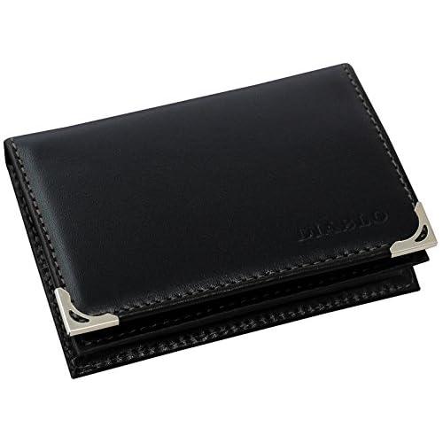 [ディアブロ] DIABLO 名刺入れ ビジネス 馬革×牛革 カードケース 【KA-1043】(ブラック×ブラック)