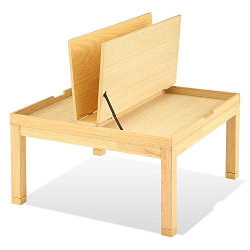 こたつ ローテーブル 机 収納付き こたつテーブル 本体 天然木 継ぎ足付き 正方形 80×80cm ナチュラル