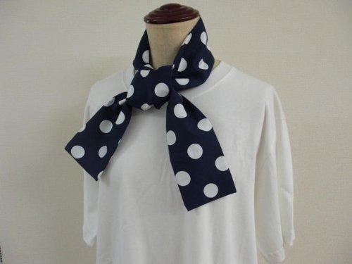 ひんやり クールストール ネイビー×水玉ドット タオルとして汗拭きにも 保冷剤付き! ひんやりタオル ひんやりスカーフ クールスカーフ