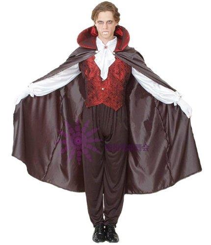 ドラキュラ 衣装セット (マント・ズボン・ベスト・シャツ) コスチューム 男女共用 フリーサイズ