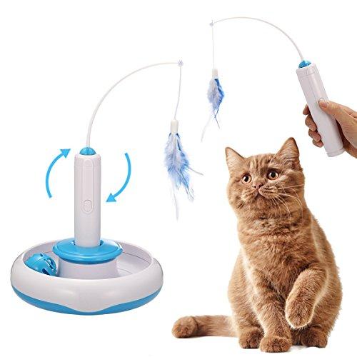 電動猫じゃらし Focuspet 猫用電動おもちゃ 猫おもちゃ 猫じゃらし 電動ぐるぐる 釣り竿 多機能3つモード 電動可能 猫運動不足、ストレス解消対策