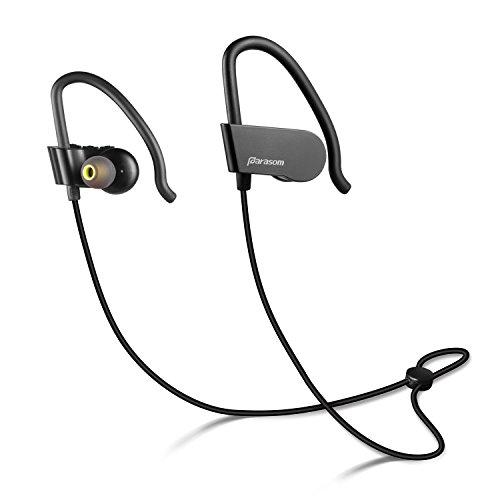 Bluetooth イヤホン 8時間連続再生【1年保証付】 Parasom A8 イヤ-フック付き 防汗 防滴 ランニング中でも耳から外れにくいスポーツイヤホン マイク内蔵 高音質 ワイヤレス イヤホン 高品質 ランニング イヤフォン ブラック