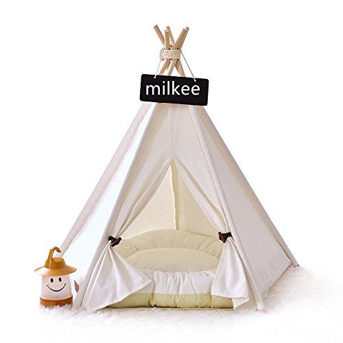 Milkee ペットテント ハウス 犬小屋 猫小屋 室内 中小型犬 ホワイト クッション別売りヨークシャー (S)