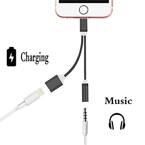Sprtjoy iPhone7 7 Plus 対応 ライトニングポート ライトニングケーブル 3.5mm オーディオジャック イヤホン 変換アダプタ 充電可能イヤホン出力ケーブル ブラック-b