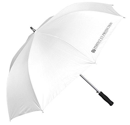 100% 完全遮光 UVカット傘 日傘 最大直径 120cm ジャンプ傘 大きい ビッグサイズ なのに 超軽量 ! 100%紫外線カット 晴雨兼用 長傘 (ホワイト)