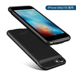 バッテリー内蔵ケース ICHECKEY iPhone6 /iPhone6s /iPhone7 /iPhone8 ケース型バッテリー 3000mAh 大容量 急速充電 超薄 軽量 車載ホルダー対応 充電と音楽と通話同時に使える 全面保護ケース 4.7インチ ブラック