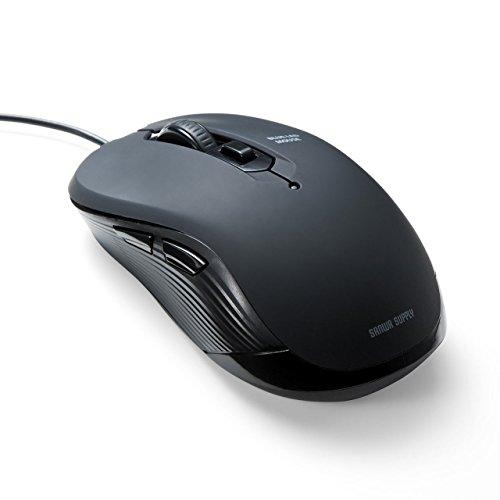 サンワダイレクト 有線マウス ブルーLED 6ボタン ラバーコーティング カーソル速度切替 400-MA096
