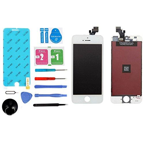 ANNTOI for iPhone5 iPhone5修理 iPhone5フロントパネル 修理交換用高品質LCD 液晶LCDスクリーン 修理パーツ iPhoneタッチパネル フロントガラスデジタイザ 液晶パネルセット 割れ 交換修理用パネル対応の交換修理、修理ツール付き iphone5 白ホワイト