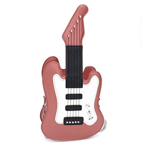 Lamdoo女性ギター形状ショルダーバッグpuレザーハンドバッグメッセンジャークロスボディホーボーサッチェル財布ホットピンク 【ダサかわいい!】ギター型 ショルダーバッグが良過ぎてヤバイ!ギター好きにオススメのギターバッグです!【楽器型鞄】
