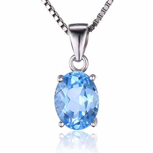 JewelryPalace 誕生石 11月 スカイブルー トパーズ ネックレス ペンダント スターリング シルバー 925 チェーン 45cm