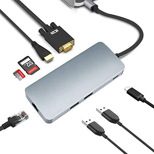 USB C VGA Type C ハブ 8in1高速転送 PD急速給電 変換アダプタ USB3.0 Micro SD/TF 4K HDMI Thunderbolt 3