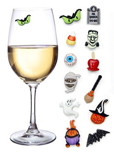 ハロウィンパーティーに! ワインチャームセット 12種のかわいいハロウィンキャラクターのマグネチックドリンクマーク&タグセット [並行輸入品]