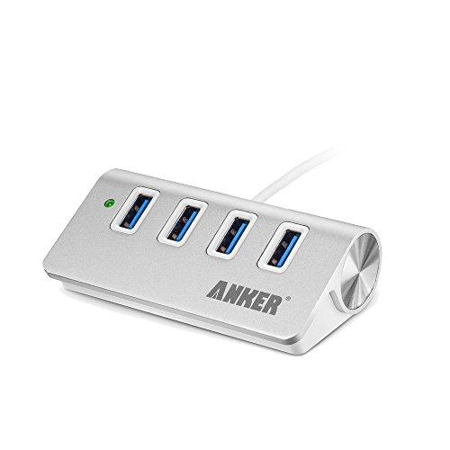 Anker USB 3.0 高速4ポートハブ 一体型ケーブル アルミ製 USB1.1/2.0互換 【18ケ月保証】 (シルバー)