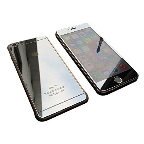 【hayarifashion】iphone6 5.5/4.7インチ 衝撃保護ガラスフィルム 液晶保護フィルム 鏡面ミラーキラキラ光るバックプレート前後鏡面ガラスフィルム 前後セット 0.20mm 表面硬度9H iPhone6/6PLUS対応 iPhone6 シルバー