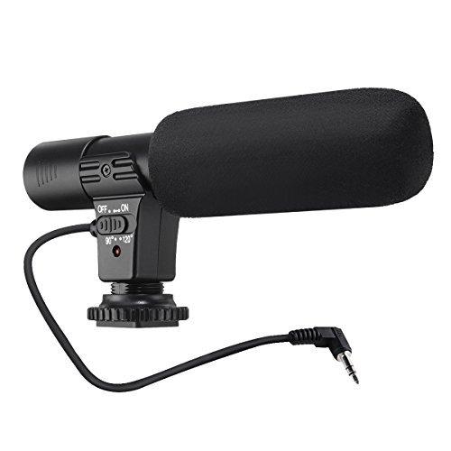 外付けマイク 一眼レフ マイク 外部マイク EIVOTOR カメラマイクロホン 一眼レフ対応 指向性コンデンサーマイク D-SLRカメラ用マイク 3.5mmデジタルビデオ録音用マイク Nikon Canon DV ブラック
