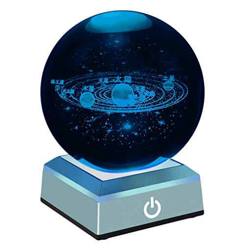3Dレーザークリスタル 水晶玉80mm ledコースター付き クリスタルボール 八つ惑星 太陽系模型 宇宙おもちゃ 置物 LEDライト タッチセンサー式 誕生日プレゼント 贈り物 子供天文愛好家に向き ホーム寝室オフィスの飾り