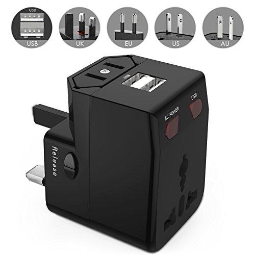 ATiC 2ポートUSB2.1A付き ヒューズ付き 世界対応マルチプラグ 万能プラグ 海外旅行必携品世界各国(UK US JP AU EU等)のコンセントに対応 AC パワー チャージャー変換プラグ/充電USBアダプター/海外旅行用充電器(Charger Converter Plug/Universal Travel Adapter) BLACK