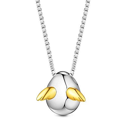 Sweetiee シルバー925 天使の卵 18kゴールドメッキ ウィング ペンダント ネックレス 純銀 ジュエリー ビジュー レディース アクセサリー 15.7