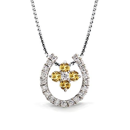 [ミワホウセキ] miwahouseki 幸せ 招く 馬蹄 & クローバー モチーフ 11月 誕生石 シトリン & ダイヤモンド 3ウェイ ネックレス K18 ホワイトゴールド