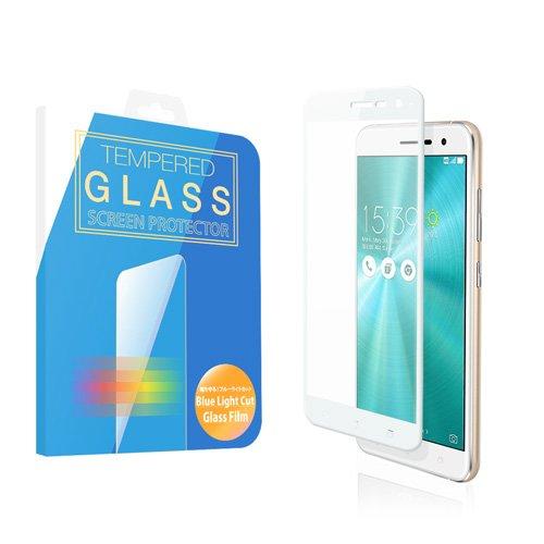 ZenFone 3 ブルーライト 90% カット ガラスフィルム 5.2 インチ フルカバー 3D 全面 ZE520KL ASUS 液晶保護 強化ガラス 国産 フィルムガラス ラウンドエッジ加工 MS factory 90日 保証 ホワイト 白 FD-ZF3-52W3D-BLUE-AB