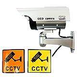 chibiclover ソーラーパネル搭載 ダミーカメラ LED点灯 屋内外両用 防犯対策 セキュリティーステッカー2枚付属