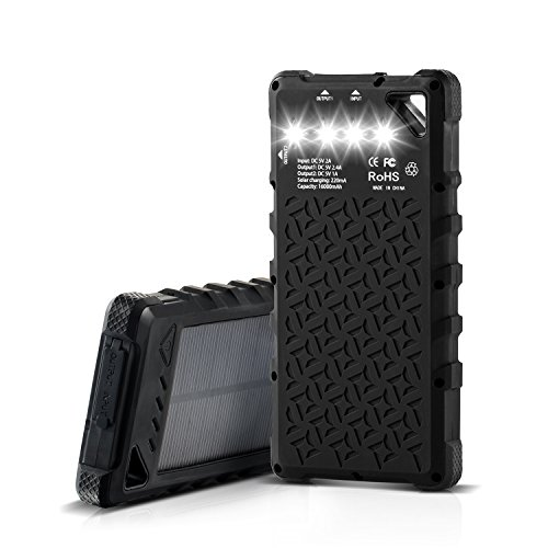 モバイル バッテリー 大容量/ソーラー充電器, MengK 16000mAh ソーラーチャージャー ソーラーパネル 大容量 ポータブル 2USB出力ポート LEDライト付け 防水&防塵&耐衝撃 旅行 ハイキングや 地震 災害時が必要なもの iPhone / タブレットPC / Xperia / Android各種他対応ブラック