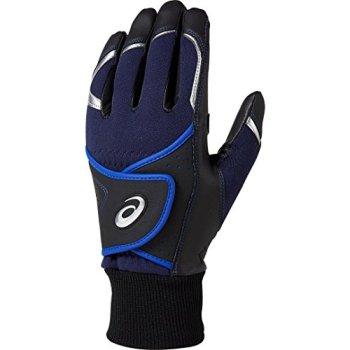 asics(アシックス) 野球 両手用 バッティンググローブ 手袋 防寒用 3121A009 ブラック/ロイヤル Lサイズ