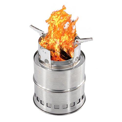IREGRO ウッドストーブ 二次燃焼 燃料不要 五徳コンロ 焚火台 薪 コンパクト 携帯用小型 アウトドア キャンプ ウッドバーニングストーブ