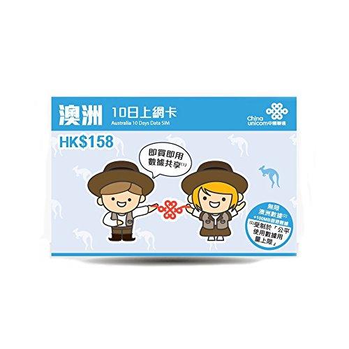 China Unicomオーストラリア 10日間 データ通信使い放題 SIMカード