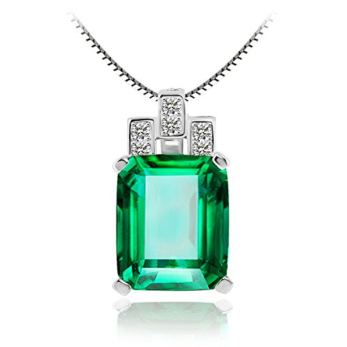 JewelryPalace 女性 6.45ct 人工 ナノ 緑 エメラルド ペンダント 5月 誕生石 925 スターリング シルバー ネックレス 45cm チェーン