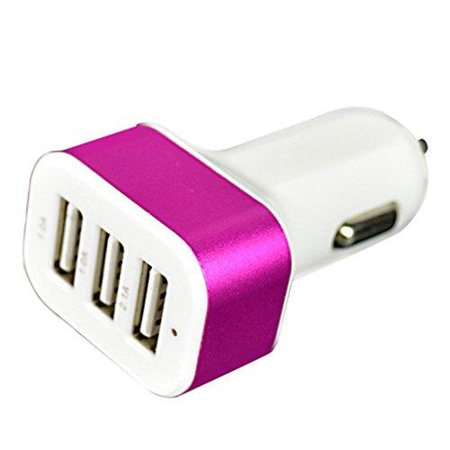 スマートフォン 車載 usb 携帯電話 チャージャー 充電器 車載用 アダプター usb 車載用品 携帯電話アクセサリ 携帯 充電 3ポート 4.1A ピンク