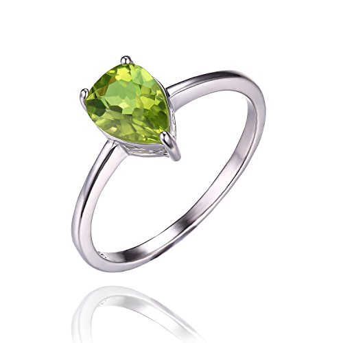 Jewelrypalace 女性 1.3ct 緑 天然石 本物 ペリドット 8月 誕生石 シンプル デザイン ペア シャイプ しずく 925 スターリングシルバー リング 婚約指輪 結婚式 指輪 サイズ 11号