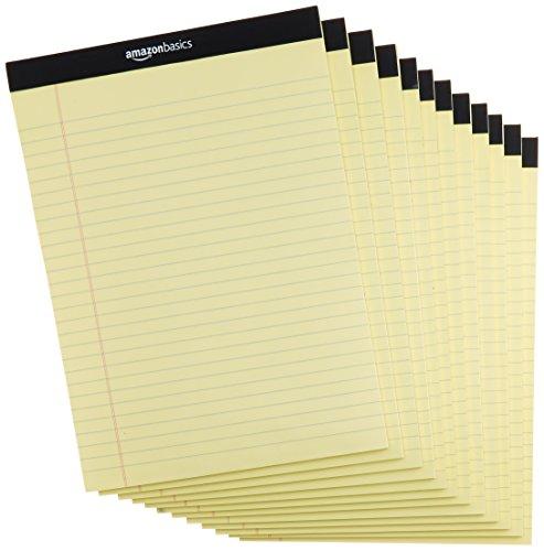 Amazonベーシック ワイド罫リーガルパッド 29.8cm×21.6cm イエロー 50枚×12冊