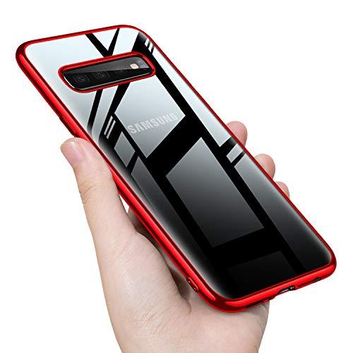 Samsung Galaxy S10 ケース クリア tpu シリコン 透明 メッキ加工 スリム 薄型 スマホケース 耐衝撃 米軍MIL規格取得 ストラップホール 黄変防止 一体型 人気 携帯カバー レッド