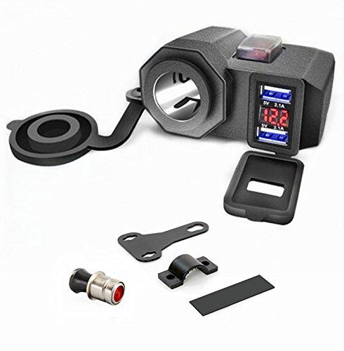 XBERSTAR バイク USB電源 充電器 4.2A シガーソケット 電圧計付 ON/OFFスイッチ シガーライター オートバイ...