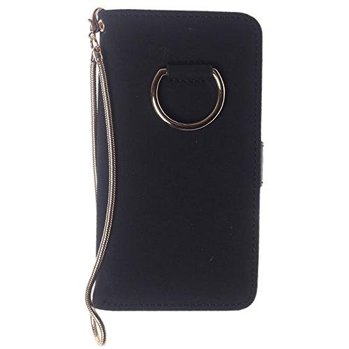 iPhone ケース 手帳型 おしゃれ リング スマホ iPhone8 7 6s 6 スマホケース カバー スマホカバー Fサイズ/ ブラック