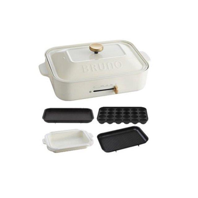 BRUNO コンパクトホットプレート+セラミックコート鍋+グリルプレート 3点セット (ホワイト)