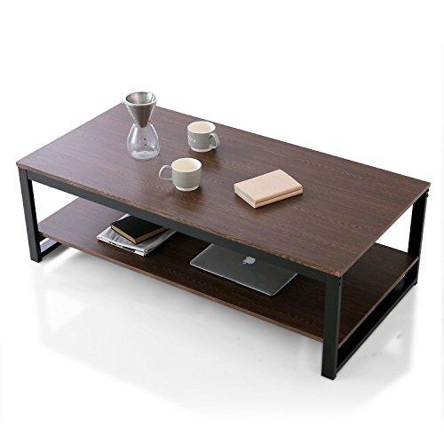 LOWYA (ロウヤ) テーブル ローテーブル ソファと一緒に使える高さ 収納付 スチールフレーム リアル木目 センターテーブル 高さ38.5cm 幅120cm ダークブラウン/ブラック おしゃれ 新生活
