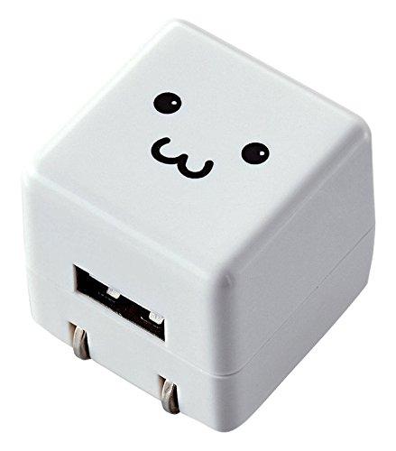 エレコム USB充電器 iPhoneAndroid対応 1A出力 1ポート AC充電器 CUBE 急速充電 ホワイト FACE ニンテンドークラシックミニ対応 MPA-ACUAN007WF