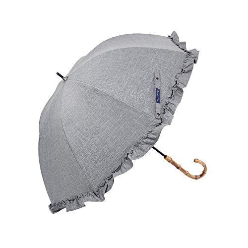【Rose Blanc】100%完全遮光 日傘 シングルフリル ミドルサイズ ダンガリーシリーズ 55cm (ダンガリーグレー)
