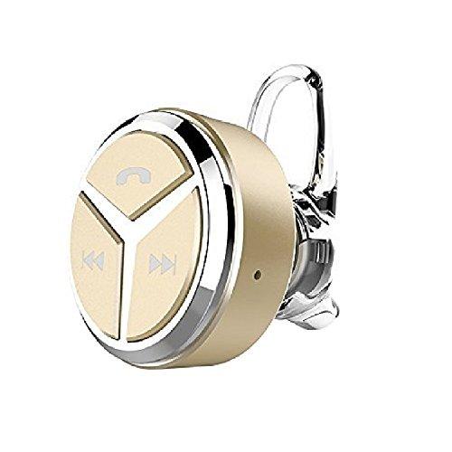 日本正規品 COOPO JAPAN 左右耳 片耳両耳とも対応 音量調整機能付き 日本語説明書付き 超小型ブルートゥースワイヤレスヘッドセット Bluetooth Wireless Headset 軽量 マイク内蔵 HIFI高音質 ノイズキャンセル ゴールド