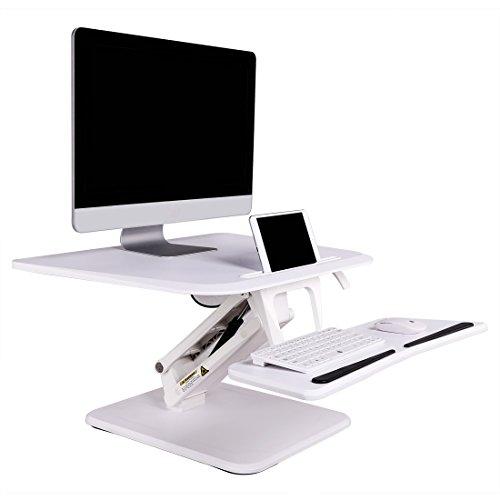 Loctek 座位立位両用ワークステーション オフィスデスク 高さ無段階調節上下昇降式デスク 27インチホワイトF3W