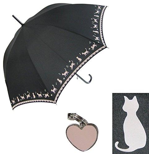 【無償修理対象】 黒ネコ裾柄 かわいい 60cm ジャンプ傘 (黒)