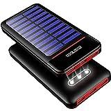 ソーラーチャージャー モバイルバッテリーRLERON 25000mAh 大容量 携帯用充電器 急速充電 人気 powerbank 2USB入力ポート(2.4A+2.4A) 3USB出力ポート(2.4A+2.4A+2.4A)LCD残量表示 防塵・耐衝撃 旅行/ハイキング/アウトドア/キャンプ / 地震/災害時/防災に大活躍 LED電灯付き Android/micro/type-c対応