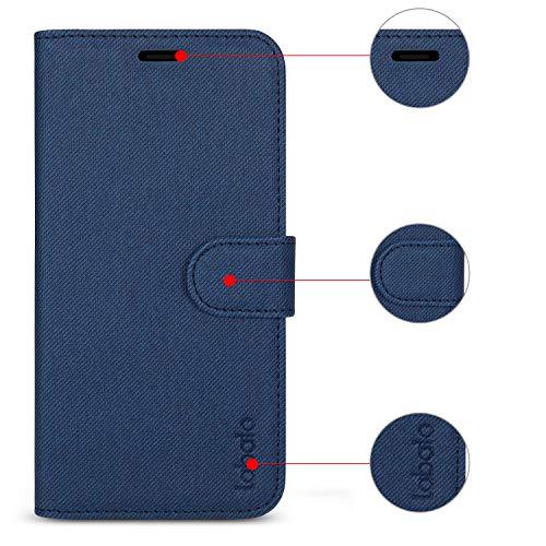 Labato iPhone XS Max ケース 手帳型 軽量 アイフォンXS Max ケース 手帳 TPU スタンド機能 マグネット カード収納 Qi対応 耐衝撃 手作り 人気 スマホケース (iPhone XS Max, ディープブルー)