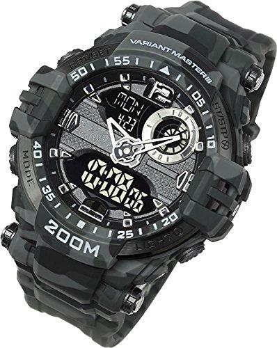 [LAD WEATHER]防水ウォッチ 200m防水 アウトドア 海 川 水泳 クロノグラフ アナデジ・ミリタリー腕時計