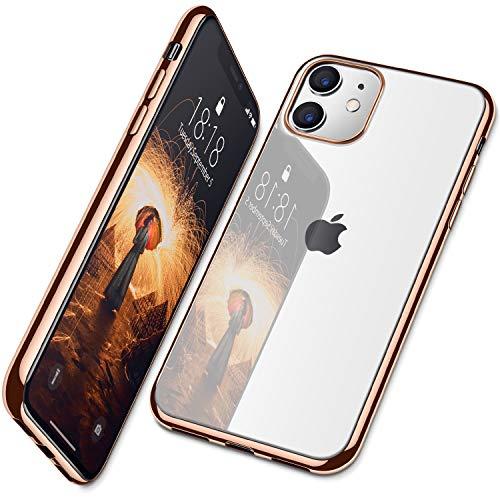 DTTO iPhone 11 ケース 工場直売 TPU ソフト 米軍MIL規格 超薄型 超軽量 背面クリア+ 周りメッキ加工 ワイヤレス 充電対応 水洗い可 傷つき防止 黄変防止 ピンクゴールド